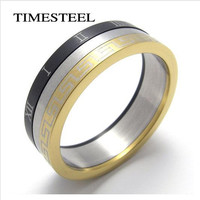 Titanium 316L Stainless Steel Roman Numbers Greek Keyl Ring Fashion Men's Jewelry Free Shipping