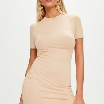 Missguided - Nude High Neck Curve Bodycon Dress