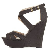 Black Strappy Cut-Out Platform Wedges by Charlotte Russe