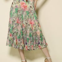 Multi Floral High Waist Pleated Belted A-Line Midi Skirt