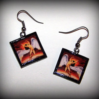Handmade Polymer Clay Led Zeppelin Swan Song Earrings