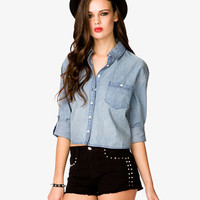 Cropped Chambray Shirt