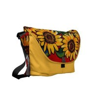 Fun Sunflowers Folk Art Messenger Bag from Zazzle.com