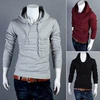 Men's Casual Hoodie Tops Long Sleeve Outerwear Hooded Sweats Shirt Solid Jacket
