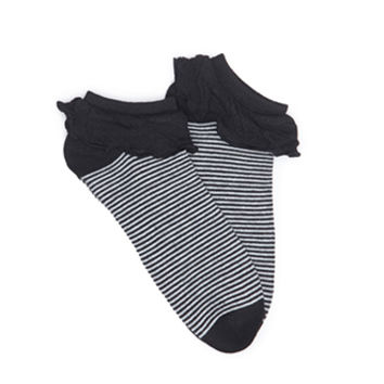 Striped Ruffle-Trimmed Ankle Socks