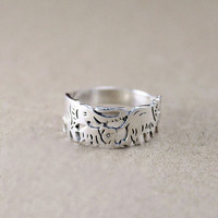Silver Elephant Ring Sterling Silver,animal ring, lucky elephant jewelry, animal jewelry,Personalised custom made,gift for her
