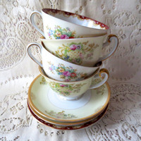 Set of Mismatched China Teacup and Saucer Sets.  Floral Antique China. Alice in Wonderland Tea Party, Bridal Shower.  Shabby Chic Dishes Tea