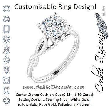 Cubic Zirconia Engagement Ring- The Diamond (Customizable Cushion Cut Solitaire with Braided Infinity-inspired Band and Fancy Basket)