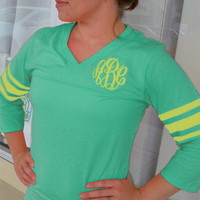 Monogrammed 3/4 length sleeve Sea Glass/Yellow football jersey Font shown MASTER CIRCLE in yellow