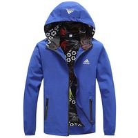 ADIDAS 2018 autumn and winter new casual hooded warm cardigan jacket Blue