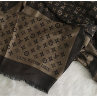 Classic Beige and Black LV Monogram Scarf Shawl