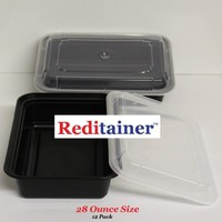 """Reditainer - Rectangular Food Storage Containers With Lids - Microwaveable & Dishwasher Safe (28 Ounce - 6"""" x 8""""- Package of 12)"""