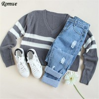 Casual Pullover Sweaters For Women New Arrival Autumn Ladies Striped V Neck Long Sleeve Loose Crop Sweater