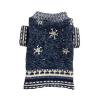 Designer Dog Sweater, X Small Blue Christmas Holiday Snowflakes, Handmade Pet Apparel Clothes