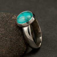 Large Turquoise Ring- Silver Turquoise Ring- Sterling Silver Ring- December Birthstone- silver jewelry- 6, 6.5, 7, 8