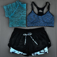 3pcs Women's Sport Bras Padded Yoga Fitness Racerback Vest Shorts Set 08