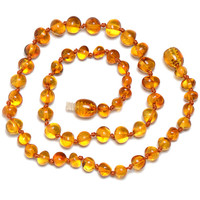 Hand Made Baltic Amber Teething Necklace for Baby - Safety Knotted - Certified Genuine Amber - !!! SHIPS FROM USA !!!