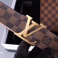 LV Women Men Fashion Smooth Buckle Belt Leather Belt