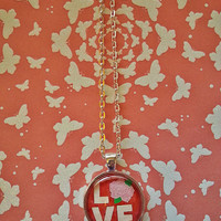 Love - Rose - glass dome necklace for tween or teen girl