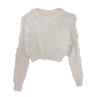 Furry Cropped Sweater with 4 Colors