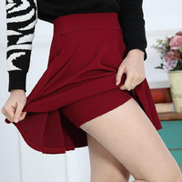 Candy Color Pleated Elasticity Skirt