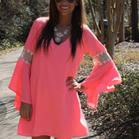 Pink Trumpt Sleeve Cutout Chiffon Dress