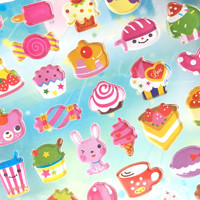 cute food sticker sweet food cupcake candy donuts tea time Dessert epoxy sticker kids party favor food party decor sticker cooking sticker