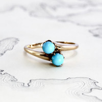 Victorian Turquoise Toi Et Moi Ring, Antique 10k Yellow Gold Bypass Style, Unique Alternative Engagement Promise Ring, Stacking Band