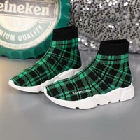 2020 new cheap Balenciaga Stylish Women Men Casual Speed Stretch Knit Socks Shoes top quality green