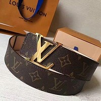 Louis Vuitton LV tide brand men and women classic logo smooth buckle belt-1