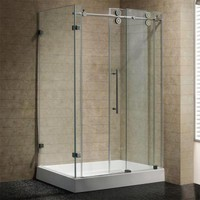 Vigo 36 in. x 79 in. Frameless Bypass Shower Enclosure in Stainless Steel and Clear Glass with Right Base-VG6051STCL48WR - The Home Depot