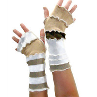 Khaki Arm Warmers, Upcycled Arm Warmers, Upcycled Clothing, Fingerless Gloves