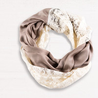 MONA B VINTAGE LACE, BROWN AND BEIGE INFINITY SCARF