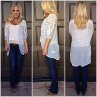 Love Me Or Lace Me Knit Cardigan - GREY
