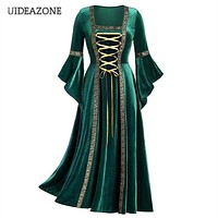 UIDEAZONE Vintage Gothic Bandage Women Dress Flare Sleeve Floor Length Goth Vampire Witch Dresses Medieval Renaissance Cosplay