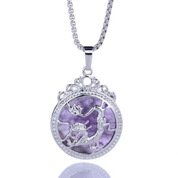 CREY78W Natural Purple Amethyst Quartz Crystal Tumbled Chakra Reiki Healing Stones Round Shape Dragon Pattern Pendant Diy Necklace