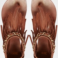 ASOS FORNA Fringe Flat Leather Sandals
