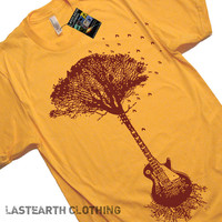 SALE - GUITAR Tree T Shirt - American Apparel - Heather Gold - X-LARGE