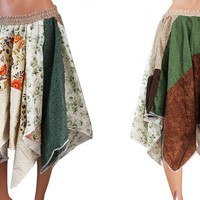 Upcycled Skirt, Forest Nymph,  Floral Orange Green Brown and White, Boho Gypsy Elastic Waistband Skirt, Recycled Clothing Medium Large
