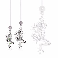 """BioFlex Pregnancy Navel Ring with """"Glass Frog"""" Dangle"""