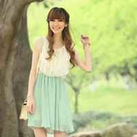 Sweet Lace Layers Pleated Dress by bloomiful
