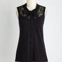 Mid-length Sleeveless Make a Mission Statement Top in Black