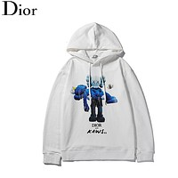 DIOR Fashion New Bear Bee Print Women Men Leisure Hooded Long Sleeve Sweater White