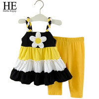 HE Hello Enjoy grils clothes baby girl clothes set summer Brand clothing kids sunflower dress + pants suit girls clothing sets