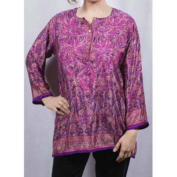 Women's Embroidered Silk Tunic Top in Purple