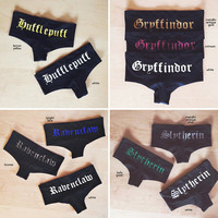 Hogwarts House Undies - Inspired by Harry Potter - Made in USA by So Effing Cute, Choose from Gryffindor/Slytherin/Hufflepuff/Ravenclaw