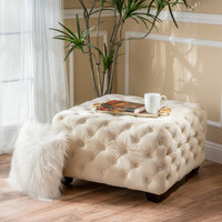 Provence Tufted New Velvet Fabric Ottoman Pouf