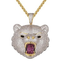 Growling Icy Wolf Gold Finish Hip Hop Pendant Free Box Chain