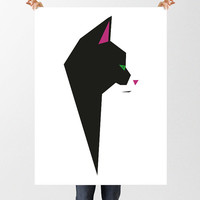 Geometric Cat Print, Instant Download, Black and White Printable Cat Art, Tuxedo Cat Print, Minimalist  Print, Low Poly Cat, Nursery Art