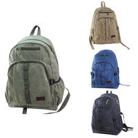Washed Zip Closure Canvas Backpack